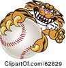 Royalty Free RF Clipart Illustration Of A Tiger Character School Mascot Grabbing A Baseball by Toons4Biz