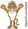 Royalty Free RF Clipart Illustration Of A Tiger Character School Mascot Punk With Colorful Hair by Toons4Biz