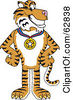 Royalty Free RF Clipart Illustration Of A Tiger Character School Mascot Wearing A Medal by Toons4Biz