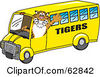 Royalty Free RF Clipart Illustration Of A Tiger Character School Mascot Driving A Bus by Toons4Biz