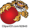 Royalty Free RF Clipart Illustration Of A Tiger Character School Mascot Grabbing A Red Ball by Toons4Biz