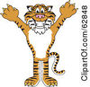 Royalty Free RF Clipart Illustration Of A Tiger Character School Mascot Holding His Arms Up by Toons4Biz