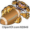 Royalty Free RF Clipart Illustration Of A Tiger Character School Mascot Grabbing A Football by Toons4Biz