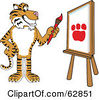 Royalty Free RF Clipart Illustration Of A Tiger Character School Mascot Painting A Canvas by Toons4Biz