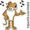 Royalty Free RF Clipart Illustration Of A Tiger Character School Mascot Singing by Toons4Biz