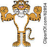 Royalty Free RF Clipart Illustration Of A Tiger Character School Mascot Flexing by Toons4Biz