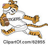Royalty Free RF Clipart Illustration Of A Tiger Character School Mascot Playing Football by Toons4Biz