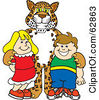 Royalty Free RF Clipart Illustration Of A Cheetah Jaguar Or Leopard Character School Mascot With School Children by Toons4Biz
