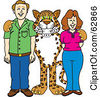 Royalty Free RF Clipart Illustration Of A Cheetah Jaguar Or Leopard Character School Mascot With Teachers Or Parents by Toons4Biz
