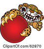 Royalty Free RF Clipart Illustration Of A Cheetah Jaguar Or Leopard Character School Mascot Grabbing A Red Ball by Toons4Biz