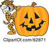 Royalty Free RF Clipart Illustration Of A Cheetah Jaguar Or Leopard Character School Mascot With A Halloween Pumpkin by Toons4Biz
