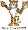 Royalty Free RF Clipart Illustration Of A Cheetah Jaguar Or Leopard Character School Mascot Holding A Report Card by Toons4Biz