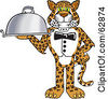 Royalty Free RF Clipart Illustration Of A Cheetah Jaguar Or Leopard Character School Mascot Serving A Platter by Toons4Biz