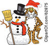 Royalty Free RF Clipart Illustration Of A Cheetah Jaguar Or Leopard Character School Mascot With A Snowman by Toons4Biz