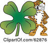 Royalty Free RF Clipart Illustration Of A Cheetah Jaguar Or Leopard Character School Mascot With A Clover by Toons4Biz