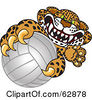 Royalty Free RF Clipart Illustration Of A Cheetah Jaguar Or Leopard Character School Mascot Grabbing A Volleyball by Toons4Biz