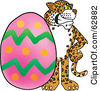 Royalty Free RF Clipart Illustration Of A Cheetah Jaguar Or Leopard Character School Mascot With An Easter Egg by Toons4Biz