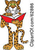Royalty Free RF Clipart Illustration Of A Cheetah Jaguar Or Leopard Character School Mascot Reading by Toons4Biz