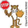 Royalty Free RF Clipart Illustration Of A Cheetah Jaguar Or Leopard Character School Mascot Holding A Stop Sign by Toons4Biz