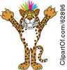 Royalty Free RF Clipart Illustration Of A Cheetah Jaguar Or Leopard Character School Mascot With Colorful Hair by Toons4Biz