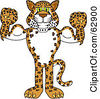 Royalty Free RF Clipart Illustration Of A Cheetah Jaguar Or Leopard Character School Mascot Flexing by Toons4Biz
