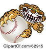 Royalty Free RF Clipart Illustration Of A Cheetah Jaguar Or Leopard Character School Mascot Grabbing A Baseball by Toons4Biz