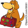 Brown Dog Mascot Cartoon Character Carrying Luggage Clipart Picture by Toons4Biz