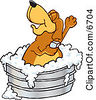 Brown Dog Mascot Cartoon Character Bathing In A Metal Tub Clipart Picture by Toons4Biz
