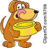 Brown Dog Mascot Cartoon Character Holding A Food Dish Waiting To Be Fed Clipart Picture by Toons4Biz