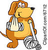 Brown Dog Mascot Cartoon Character With An Arm And Leg Bandaged Up Clipart Picture by Toons4Biz