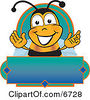 Clipart Picture Of A Bee Mascot Cartoon Character On A Blank Blue And Green Label by Toons4Biz