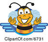 Clipart Picture Of A Bee Mascot Cartoon Character Logo by Toons4Biz