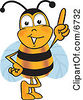 Clipart Picture Of A Bee Mascot Cartoon Character Pointing Upwards by Toons4Biz