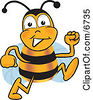 Clipart Picture Of A Bee Mascot Cartoon Character Running by Toons4Biz