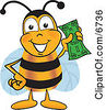 Clipart Picture Of A Bee Mascot Cartoon Character Holding A Dollar Bill by Toons4Biz