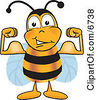 Clipart Picture Of A Bee Mascot Cartoon Character Flexing His Arm Muscles by Toons4Biz