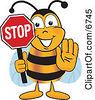 Clipart Picture Of A Bee Mascot Cartoon Character Holding His Hand Out And A Red Stop Sign by Toons4Biz
