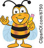 Clipart Picture Of A Bee Mascot Cartoon Character Holding A Pencil by Toons4Biz