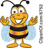 Clipart Picture Of A Bee Mascot Cartoon Character Greeting With Open Arms by Toons4Biz