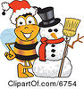 Clipart Picture Of A Bee Mascot Cartoon Character With A Snowman On Christmas by Toons4Biz