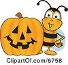 Clipart Picture Of A Bee Mascot Cartoon Character With A Carved Halloween Pumpkin by Toons4Biz