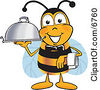 Clipart Picture Of A Bee Mascot Cartoon Character Dressed As A Servant Carrying A Food Platter by Toons4Biz