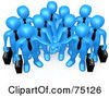 Royalty Free RF Clipart Illustration Of A Group Of Blue Business People Carrying Briefcases And Standing With Their Hands Piled by 3poD