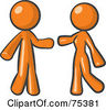 Royalty Free RF Clipart Illustration Of An Orange Man And Woman Preparing To Embrace by Leo Blanchette