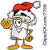 Clipart Picture Of A Chefs Hat Mascot Cartoon Character Wearing A Santa Hat And Waving by Toons4Biz