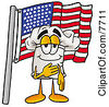 Clipart Picture Of A Chefs Hat Mascot Cartoon Character Pledging Allegiance To An American Flag by Toons4Biz