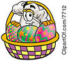 Clipart Picture Of A Chefs Hat Mascot Cartoon Character In An Easter Basket Full Of Decorated Easter Eggs by Toons4Biz