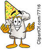 Clipart Picture Of A Chefs Hat Mascot Cartoon Character Wearing A Birthday Party Hat by Toons4Biz