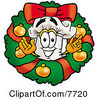 Clipart Picture Of A Chefs Hat Mascot Cartoon Character In The Center Of A Christmas Wreath by Toons4Biz
