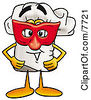 Clipart Picture Of A Chefs Hat Mascot Cartoon Character Wearing A Red Mask Over His Face by Toons4Biz